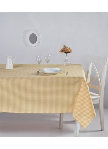 Denizli Concept Pötikareli Masa Örtüsü 170x170 Sarı